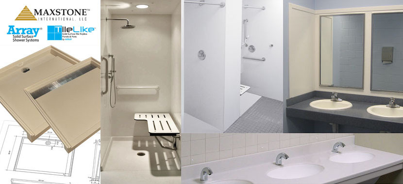 ADA-Compliant Solid Surface Shower Compartment & Lavatory Design